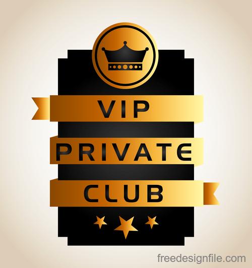 luxury VIP club golden labels vector 05