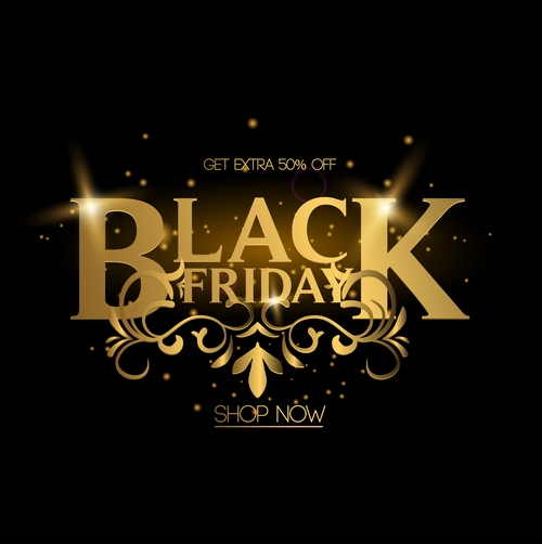 luxury black friday shop now poster vector 01
