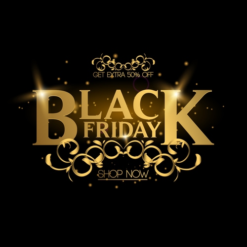 luxury black friday shop now poster vector 02