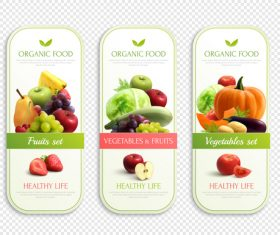 organic fruits vegetables labels design realistic vector