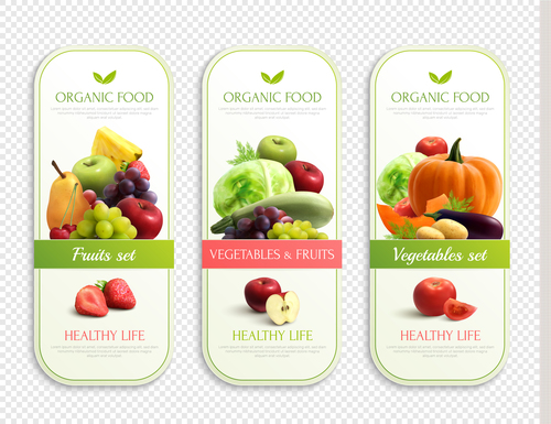 organic fruits vegetables labels design realistic vector