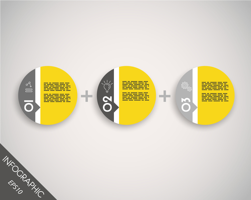 three circle stickers in row vector infographic 01