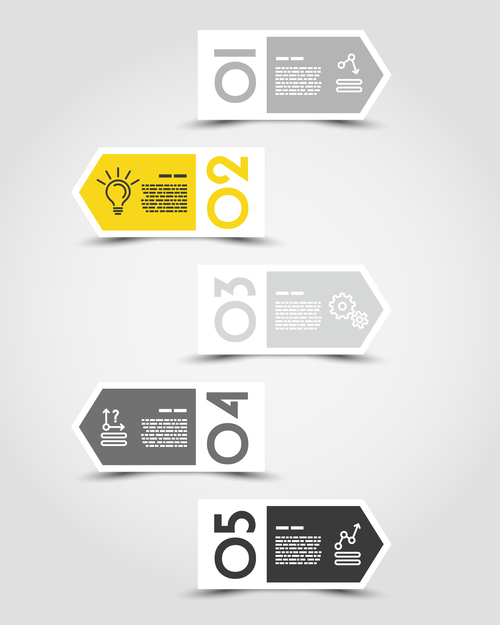 yellow infographic arrows vector