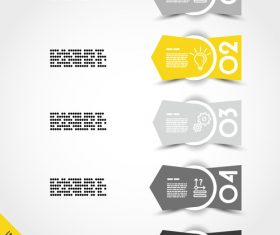 yellow infographic arrows with ring vector