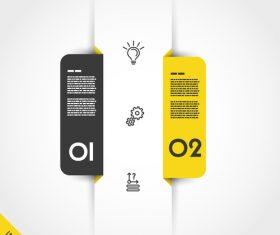 yellow infographic markers with icons vector