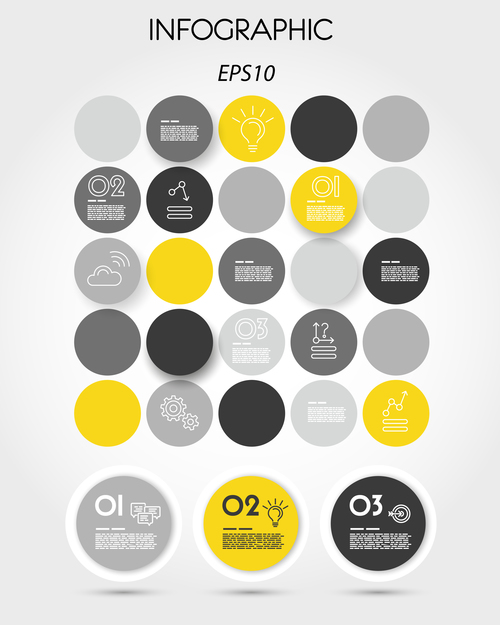 yellow infographic ring elements vector