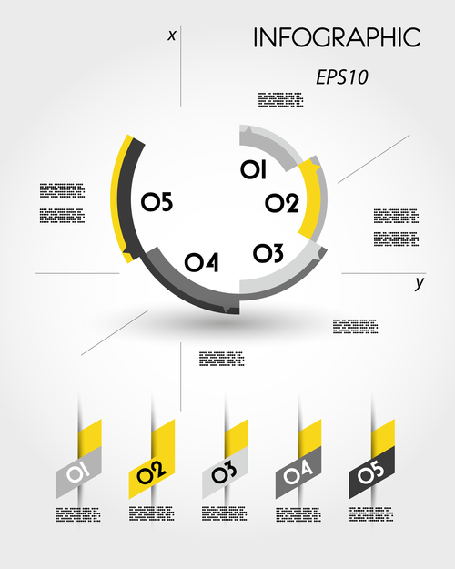 yellow infographic ring template vector