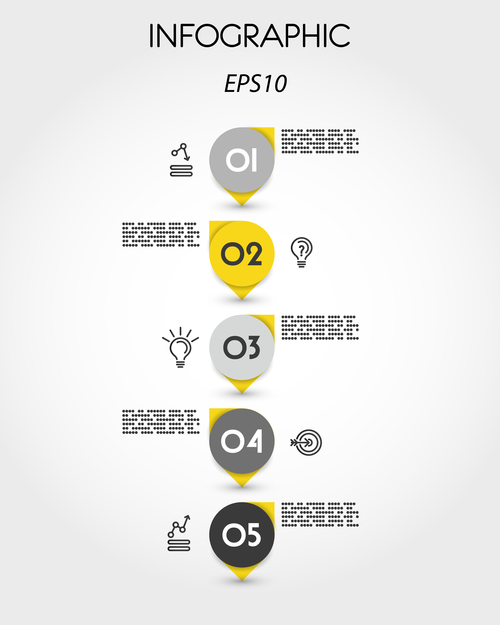 yellow infographic timeline with pointers vector
