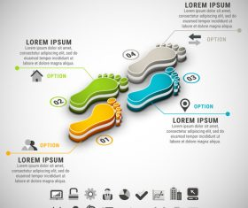 3D Footprint business infographic vector 02