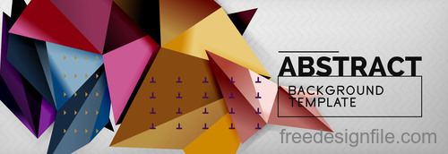 3D Polygon abstract background template vector 11