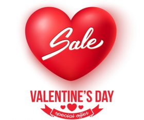 3D air heart shape with valentines day special offer design vector