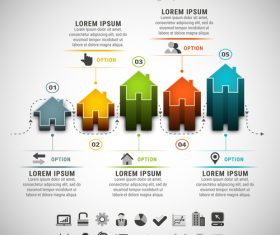 3D house business infographic vector 01