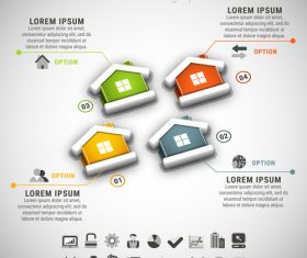 3D house business infographic vector 02