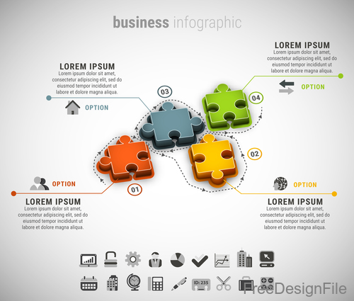 3D puzzle business infographic vector 02