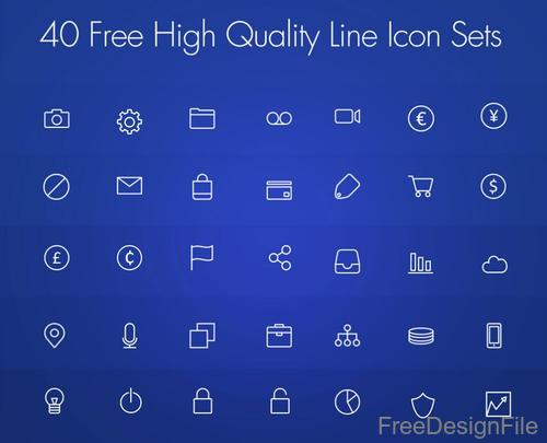 40 Kind High Quality Line Icons