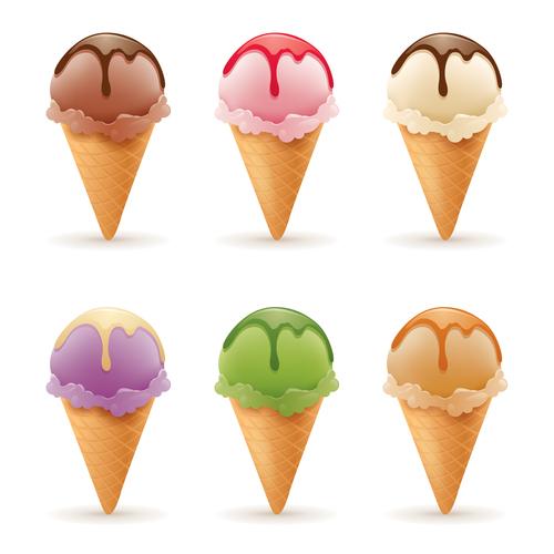 6 Kind ice cream illustration vector