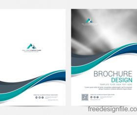Abstract wavy brochure cover vector template 06