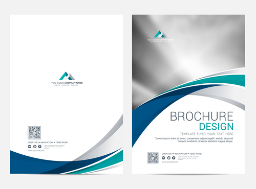 Abstract wavy styles brochure cover vector 04