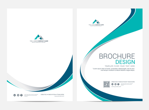 Abstract wavy styles brochure cover vector 08