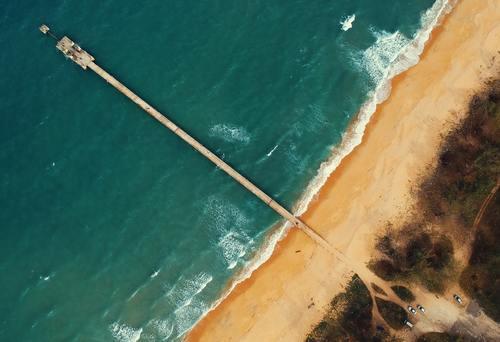 Aerial view of the sea trestle beach Stock Photo