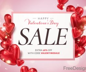 Air red heart balloons with valentines sale design vector