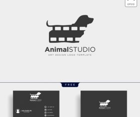 Animal studio logo and business card template vector