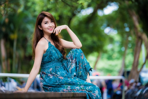 Asian girl with Brilliant smile Stock Photo