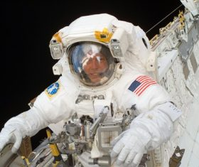 Astronaut walking maintenance in space Stock Photo 05