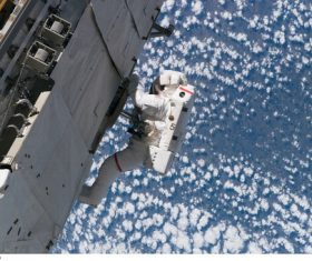 Astronaut walking maintenance in space Stock Photo 06