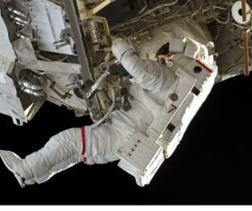 Astronaut walking maintenance in space Stock Photo 09