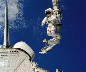 Astronaut walking maintenance in space Stock Photo 10