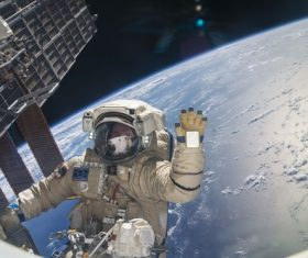 Astronaut walking maintenance in space Stock Photo 12
