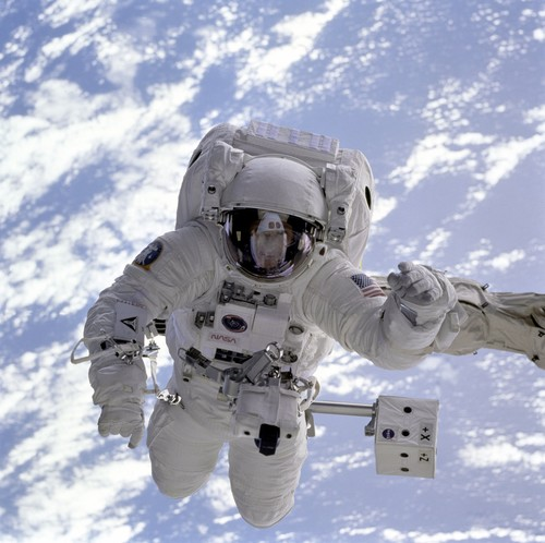 Astronaut walking maintenance in space Stock Photo 13