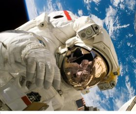 Astronaut walking maintenance in space Stock Photo 14