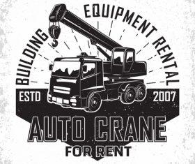 Auto crane vintage emblem vector 01