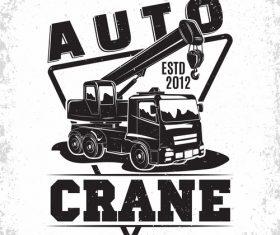 Auto crane vintage emblem vector 02