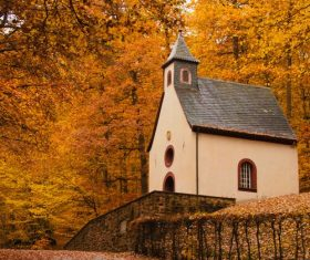 Autumn forest and chapel Stock Photo