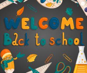 Back to school cartoon styles design vector 02