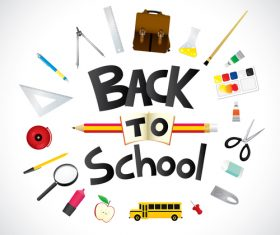 Back to school design with white background vector 01
