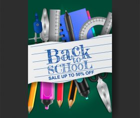 Back to school poster template vector material 02