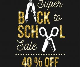 Back to school sale background with golden accessories vector 01
