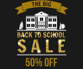 Back to school sale background with golden accessories vector 02