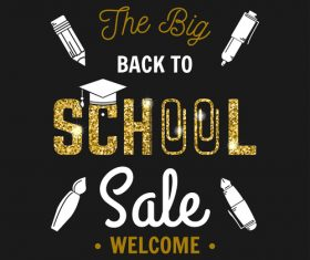 Back to school sale background with golden accessories vector 03
