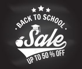Back to school sale discount blackboard background vector 04