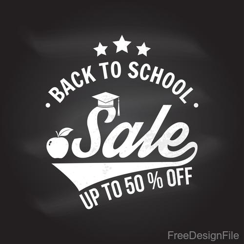 Back to school sale discount blackboard background vector 04