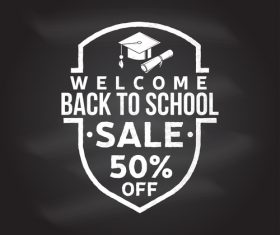 Back to school sale discount blackboard background vector 05