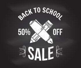 Back to school sale discount blackboard background vector 06