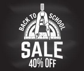 Back to school sale discount blackboard background vector 07