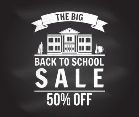 Back to school sale discount blackboard background vector 08
