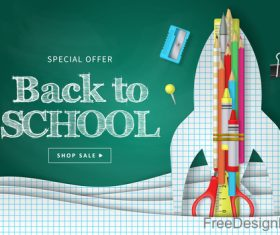 Back to school special offer sale background vector